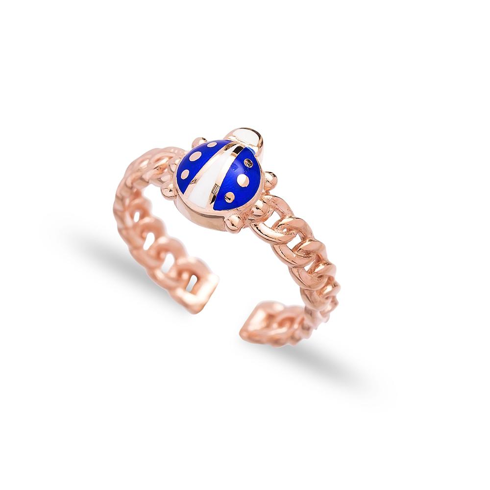 Blue Ladybug Design Adjustable Ring Wholesale 925 Silver Sterling Jewelry