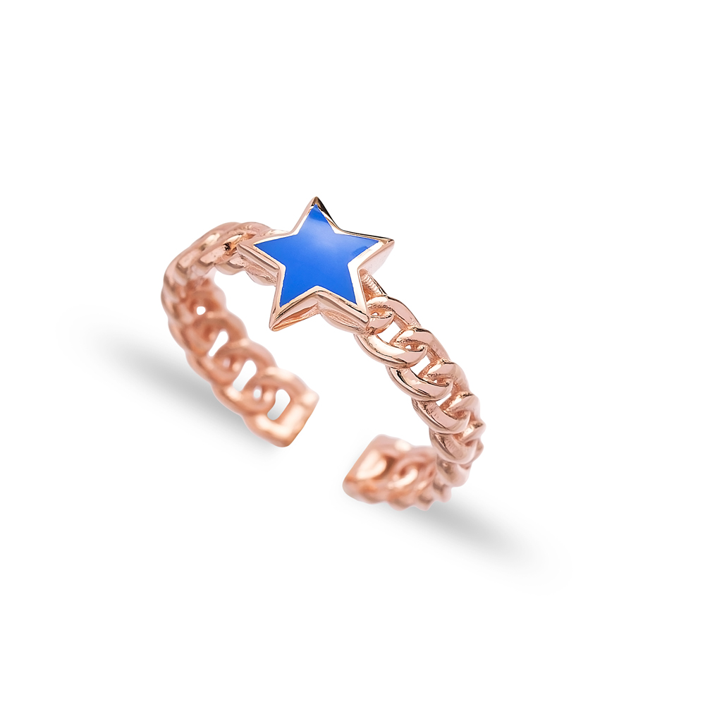 Blue Enamel Star Design Adjustable Ring Wholesale 925 Silver Sterling Jewelry