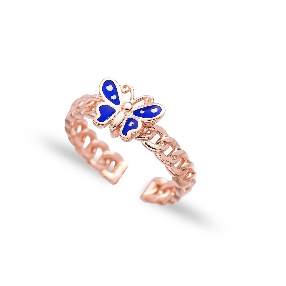 Blue Enamel Butterfly Design Adjustable Ring Wholesale 925 Silver Sterling Jewelry