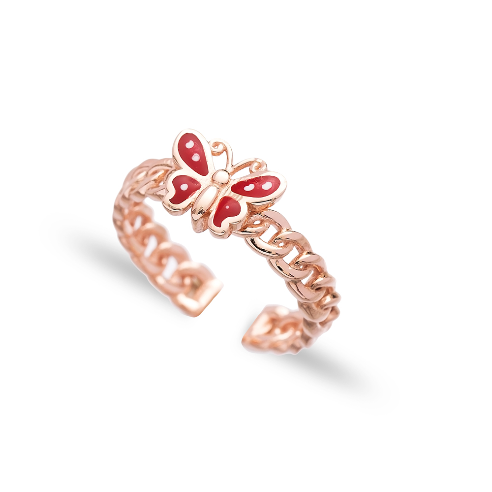 Red Enamel Butterfly Design Adjustable Ring Wholesale 925 Silver Sterling Jewelry