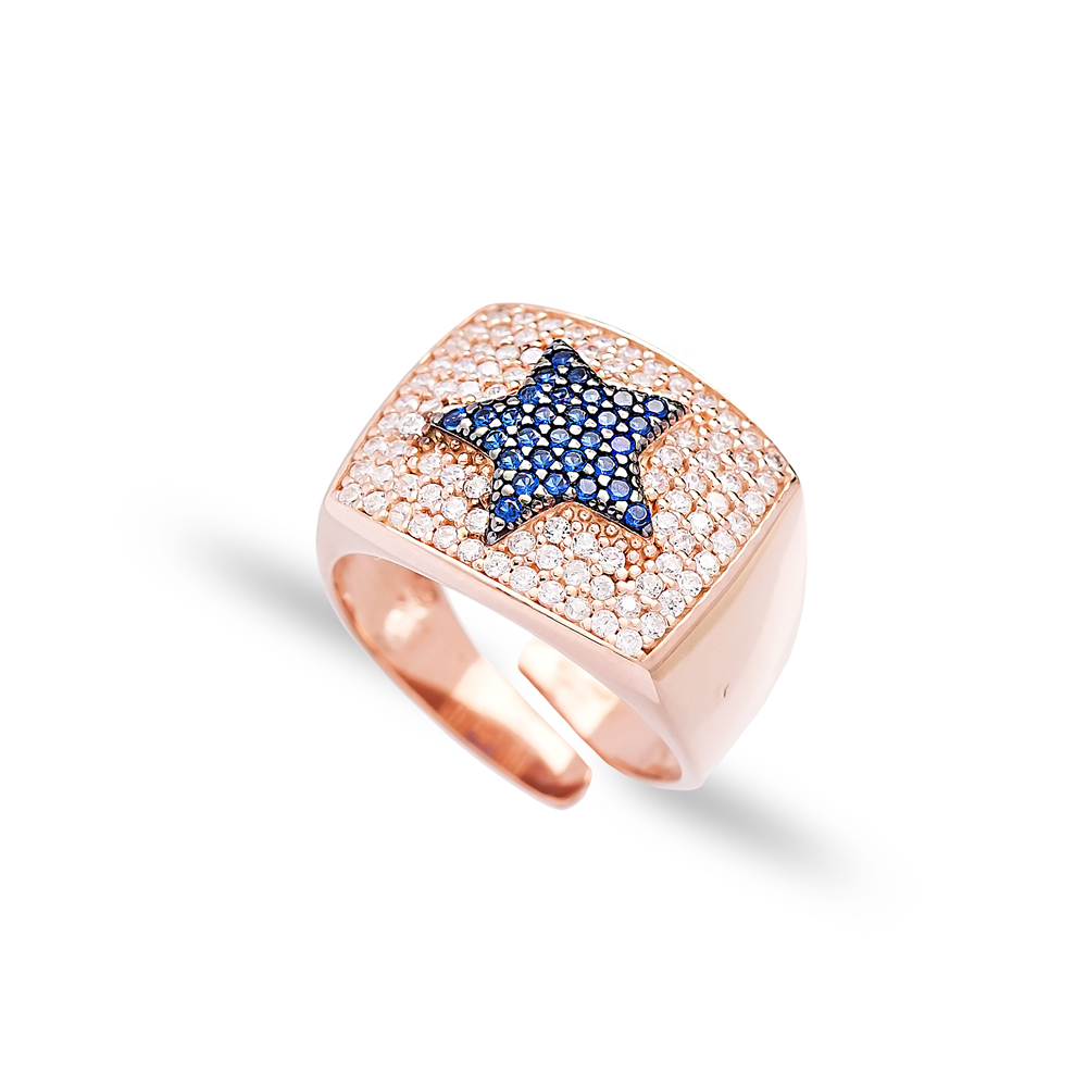 Sapphire Stone Star Design Adjustable Ring Wholesale 925 Silver Sterling Jewelry