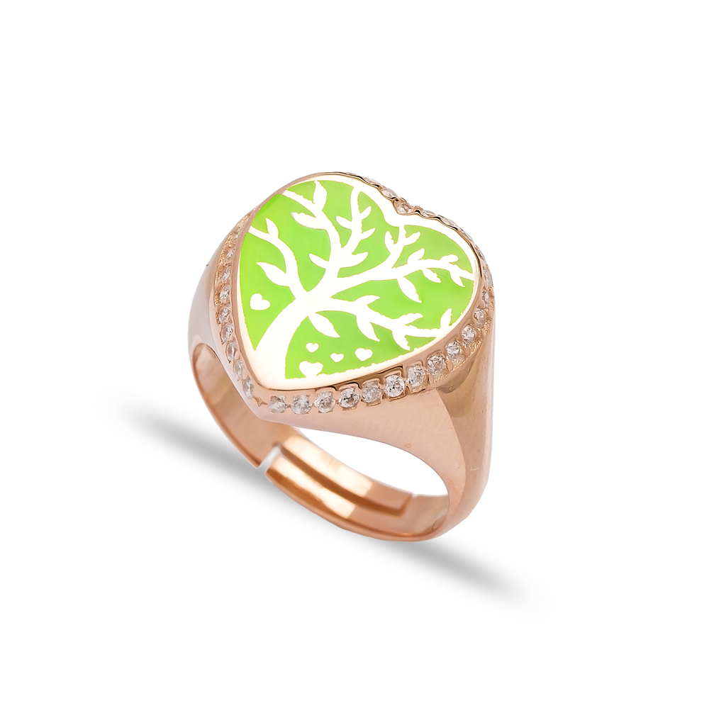 Green Neon Heart Shape Tree Design Adjustable Ring Wholesale 925 Silver Sterling Jewelry