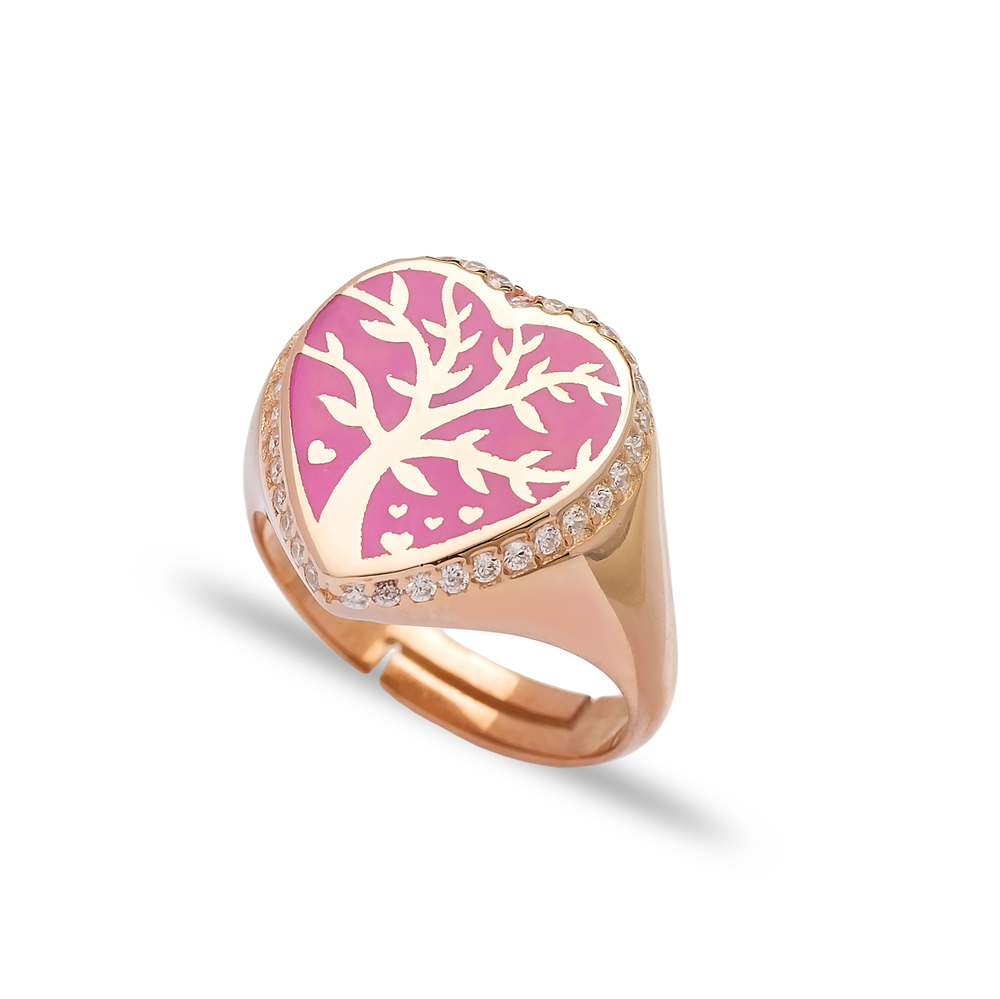 Pink Neon Heart Shape Tree Design Adjustable Ring Wholesale 925 Silver Sterling Jewelry