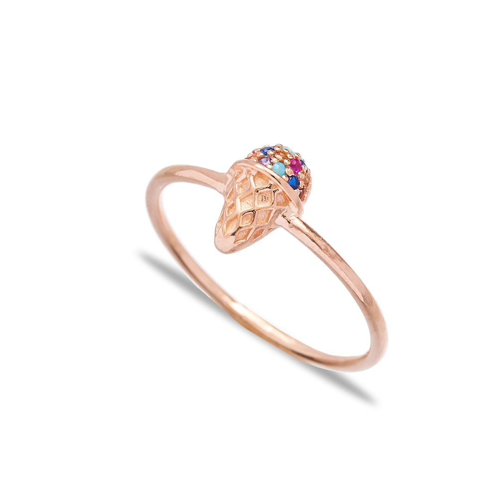 Colorful Ice Cream Charm Band Ring Wholesale Turkish Handcrafted 925 Sterling Silver Jewelry