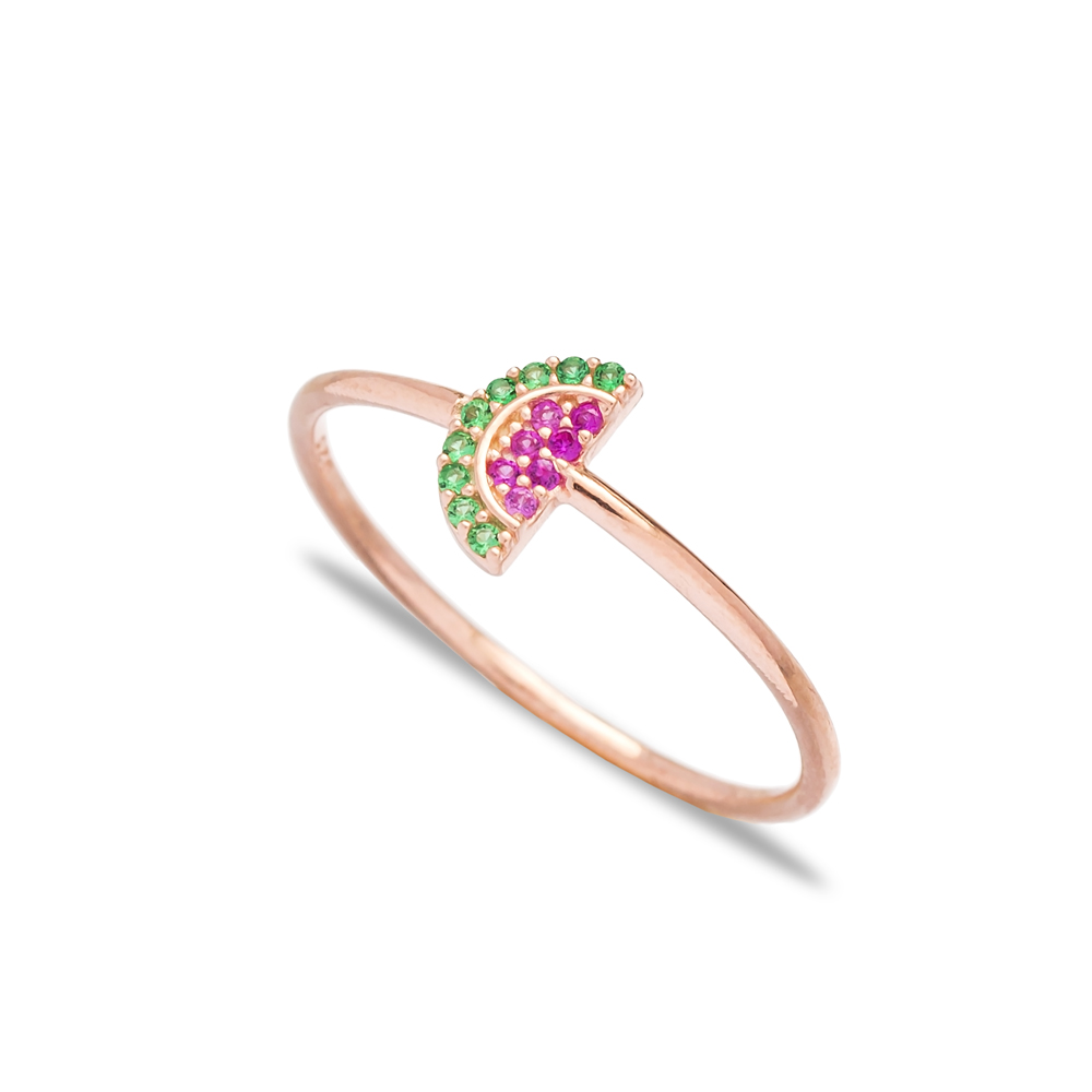 Watermelon Charm Band Ring Wholesale Turkish Handcrafted 925 Sterling Silver Jewelry