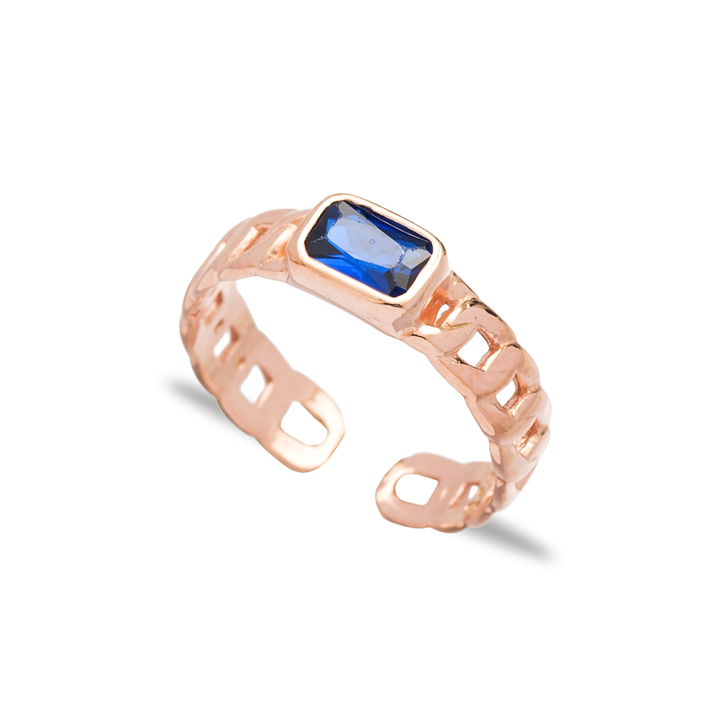 Sapphire Stone Design Adjustable Ring Wholesale 925 Silver Sterling Jewelry