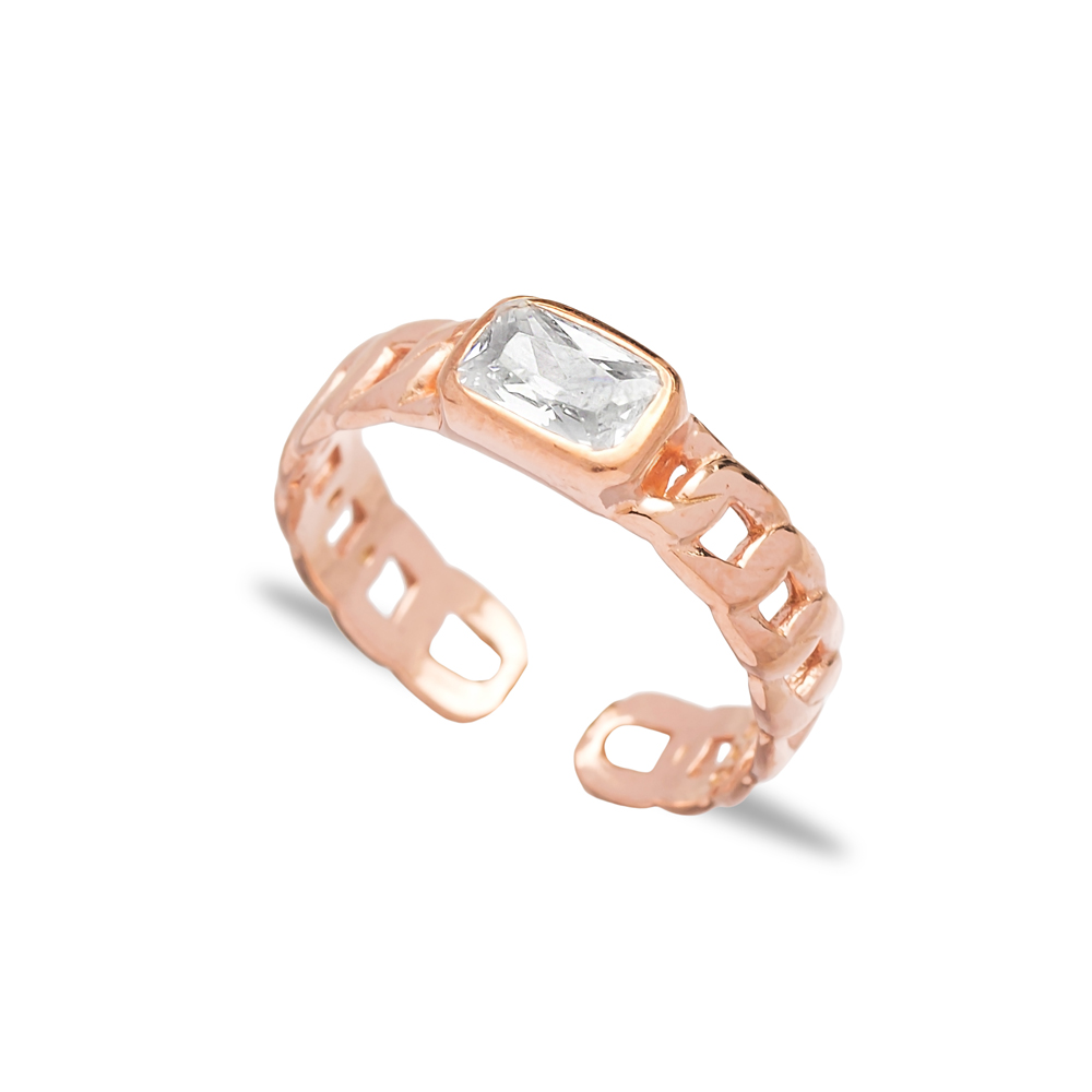 Rectangle Stone Design Adjustable Ring Wholesale 925 Silver Sterling Jewelry