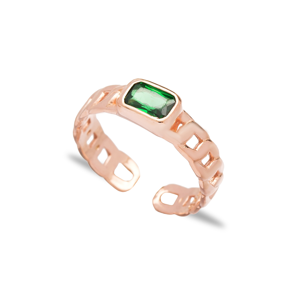 Emerald Stone Design Adjustable Ring Wholesale 925 Silver Sterling Jewelry