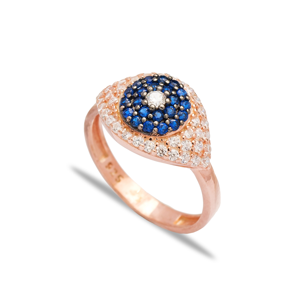 Sapphire Stone Eye Shape Design Ring Wholesale Handcrafted 925 Sterling Silver Jewelry