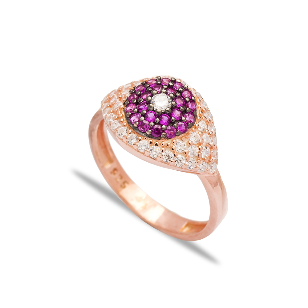 Ruby Stone Eye Shape Design Ring Wholesale Handcrafted 925 Sterling Silver Jewelry