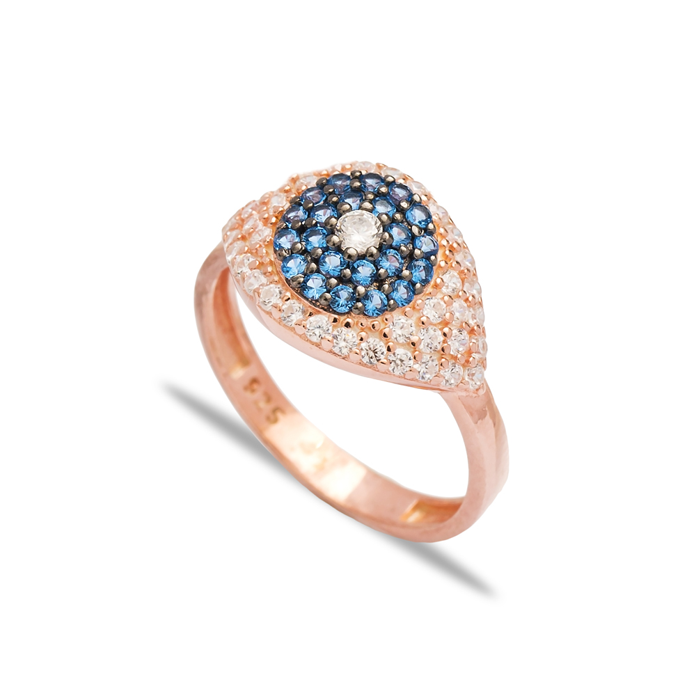 Aquamarine Stone Eye Shape Design Ring Wholesale Handcrafted 925 Sterling Silver Jewelry