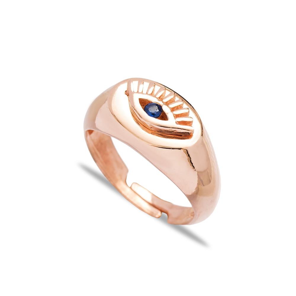 Little Finger Adjustable Ring Minimalist Evil Eye Design Wholesale 925 Silver Sterling Jewelry
