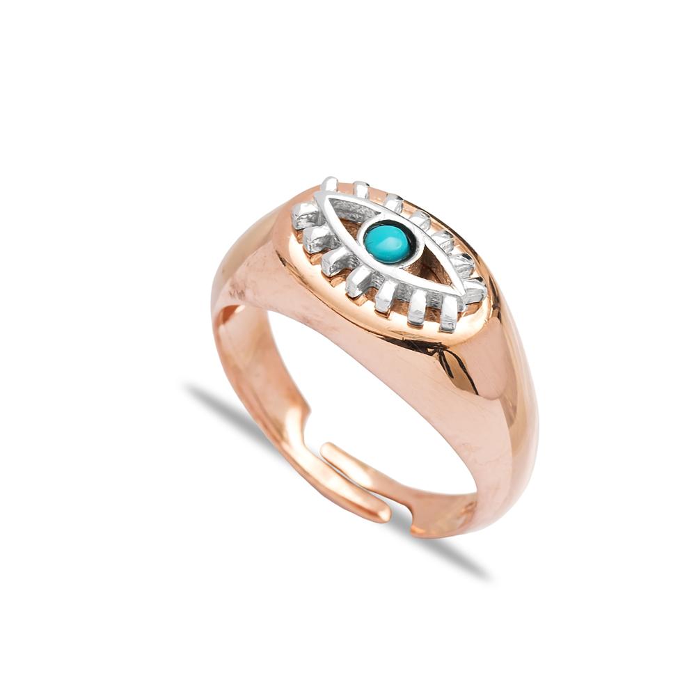 Little Finger Adjustable Ring Minimalist Rhodium Evil Eye Design Wholesale 925 Silver Sterling Jewelry