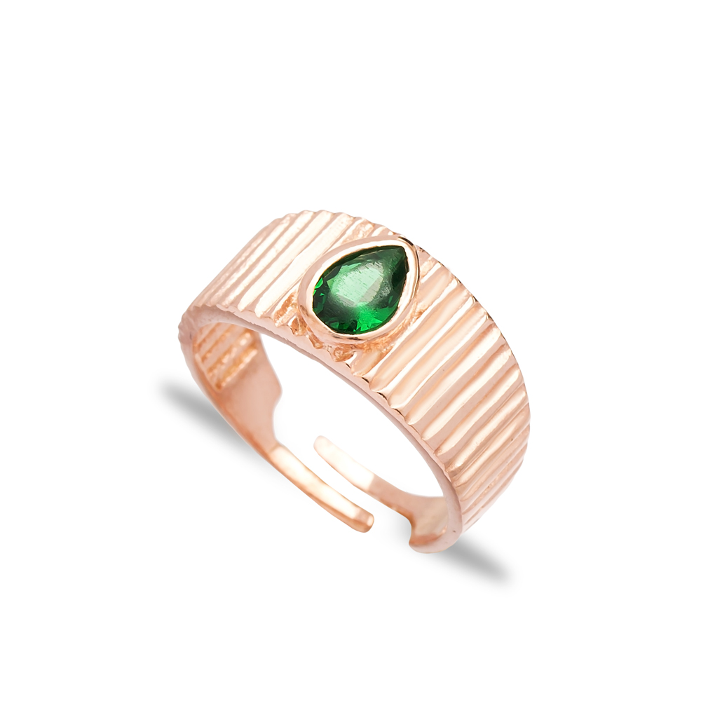 Little Finger Adjustable Ring Drop Shape Emerald Stone Design Wholesale 925 Silver Sterling Jewelry