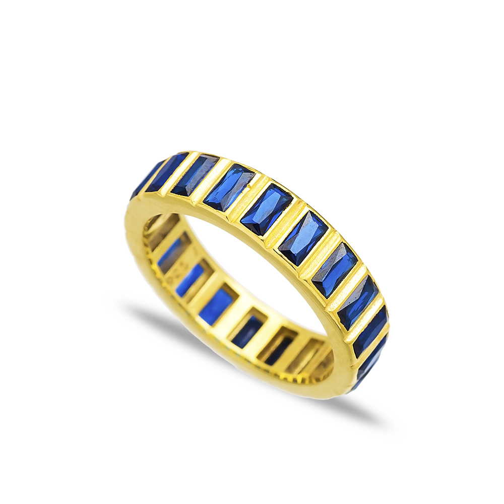 Sapphire Stone Design Band Ring Turkish Wholesale Handcrafted 925 Sterling Silver Jewelry