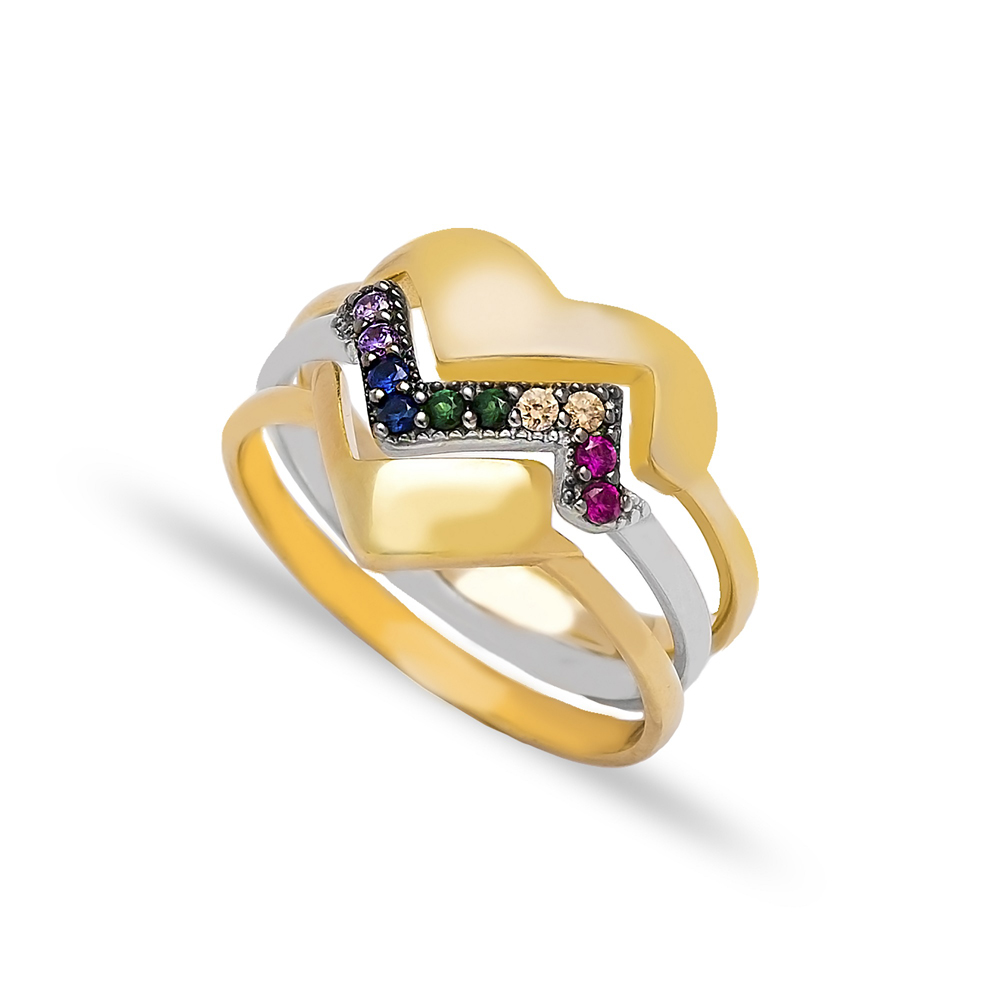 Intertwined Ring Heart Design Turkish Wholesale Handcrafted 925 Sterling Silver Jewelry