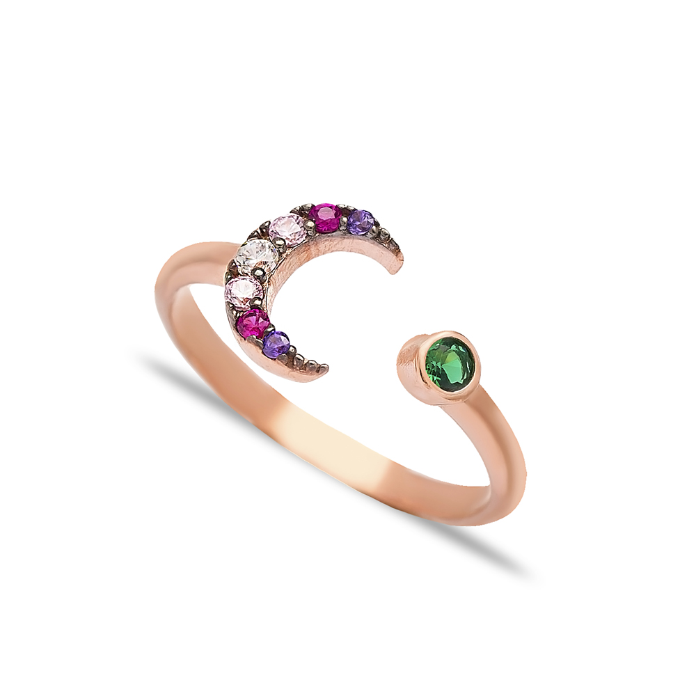 Moon Design Mix Stone Adjustable Ring Turkish Wholesale 925 Silver Sterling Jewelry