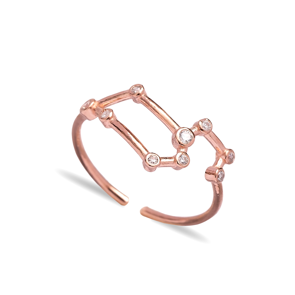 Leo Dainty Zodiac Constellation Ring 925 Sterling Silver Jewelry