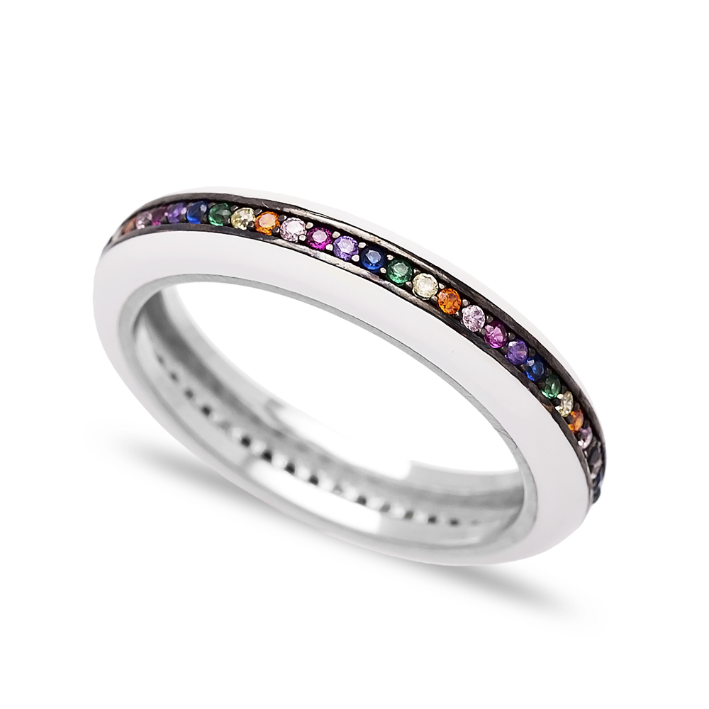White Enamel Mix Stone Band Ring Wholesale 925 Sterling Silver Jewelry