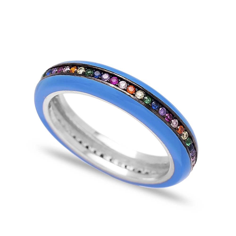 Mix Stone Blue Enamel Band Ring Wholesale 925 Sterling Silver Jewelry