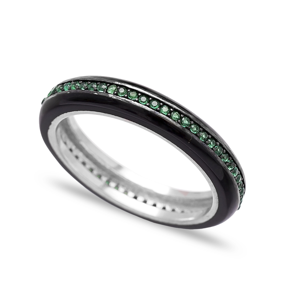 Wholesale Black Enamel Band Ring Turkish 925 Sterling Silver Jewelry