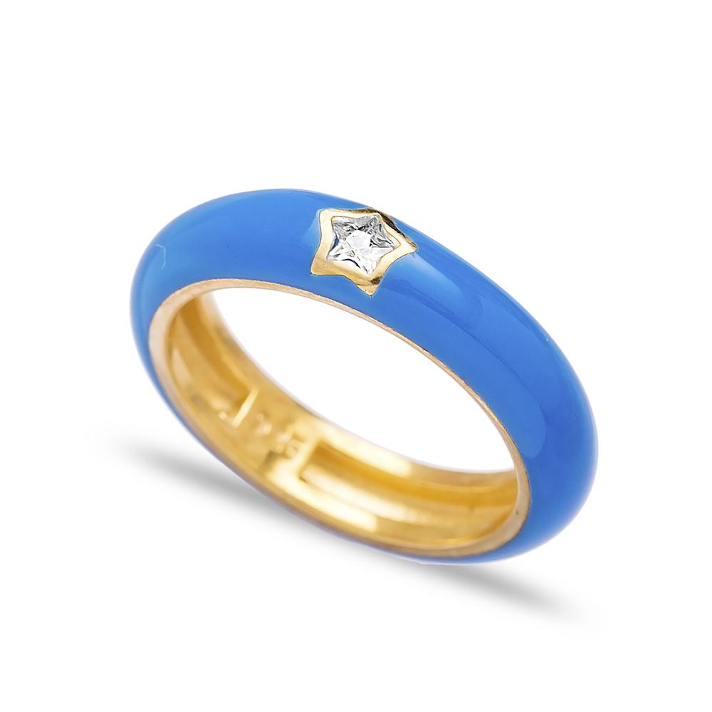 Minimal Star Design Blue Enamel Wholesale 925 Sterling Silver Jewelry Turkish Ring