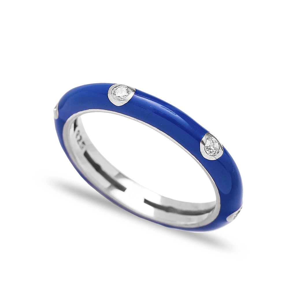 Enamel Dark Blue Silver Band Ring Turkish Wholesale Jewelry