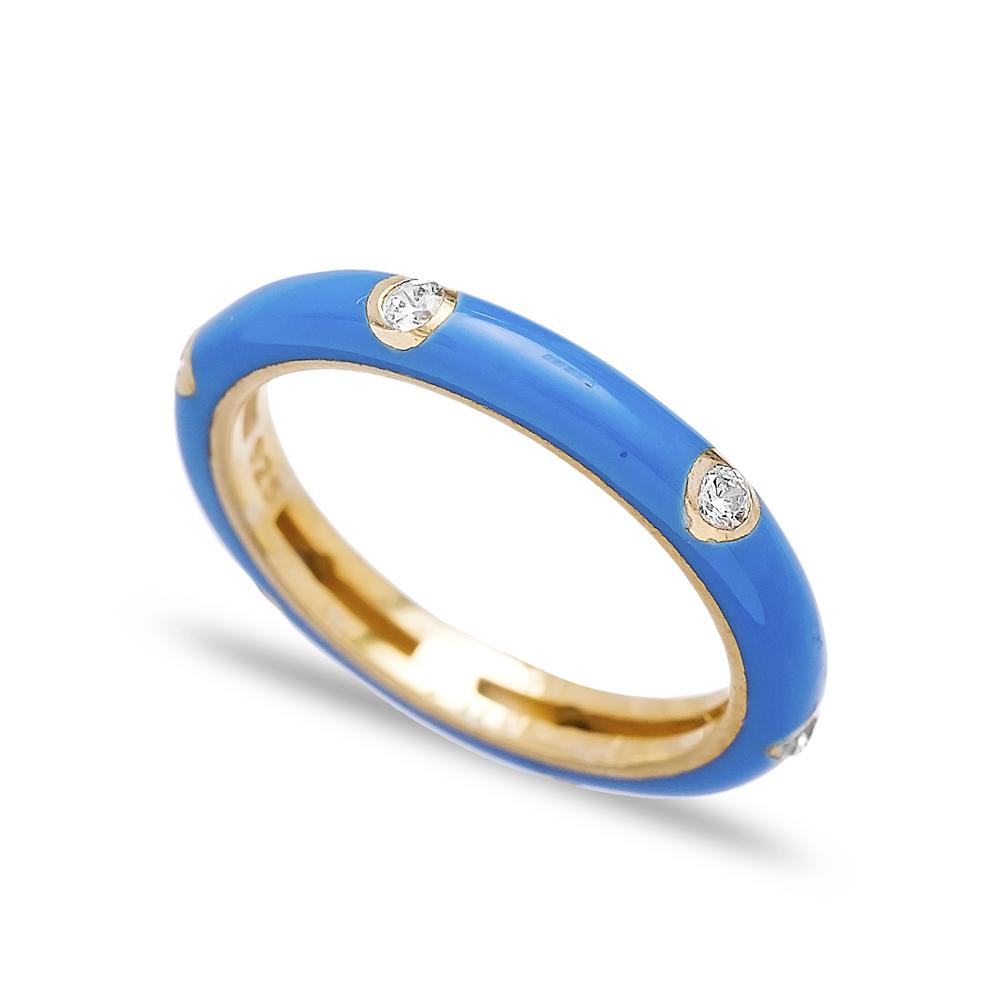 Blue Enamel Cubic Zirconia  Silver Band Ring Turkish Wholesale Jewelry