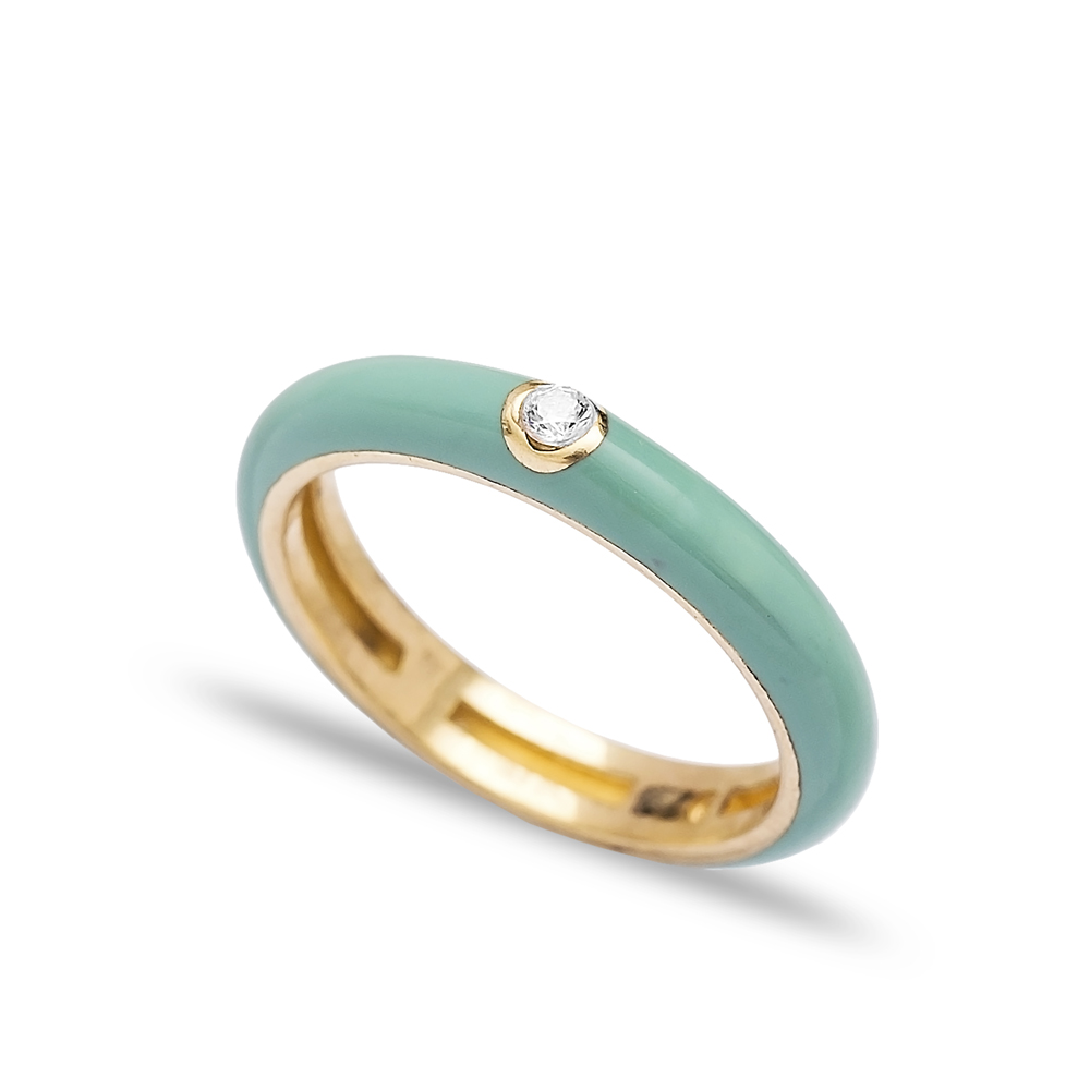 Nile Green Enamel Zircon Stone Band Ring Wholesale Sterling Silver Jewelry