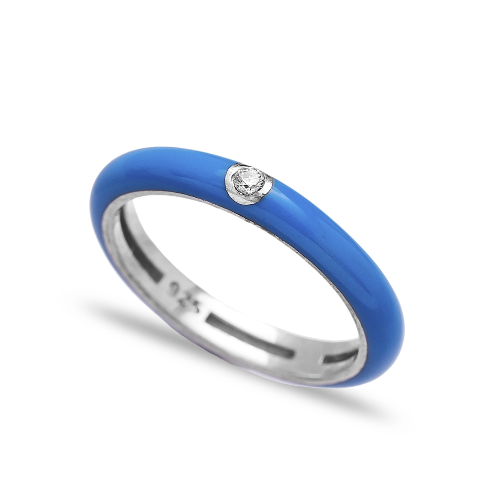 Enamel Blue Zircon Stone Wholesale 925 Sterling Silver Silver Band Ring