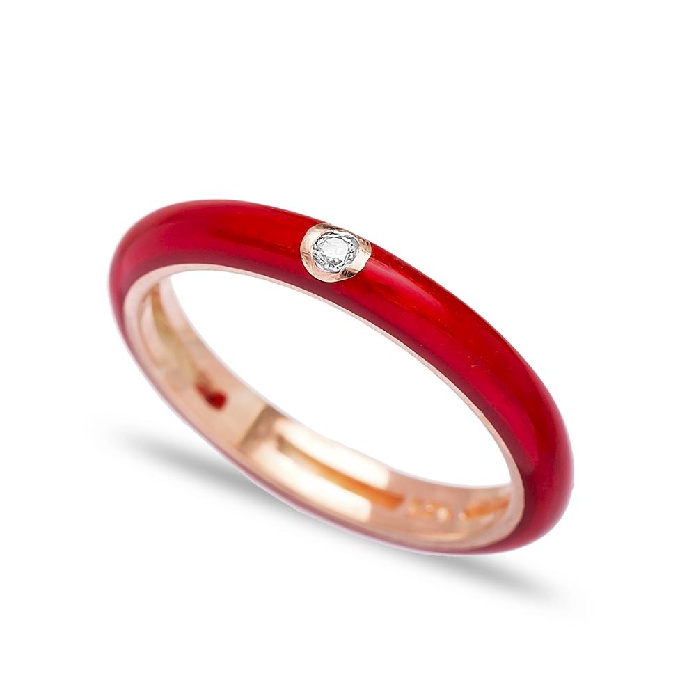 Fashion Zircon Stone Red Enamel Ring Wholesale 925 Sterling Silver Jewelry