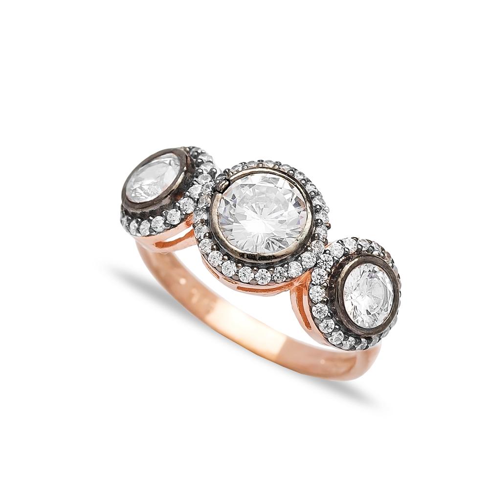 Trendy Three Zircon Stone Ring Wholesale Handmade 925 Sterling Silver Jewelry