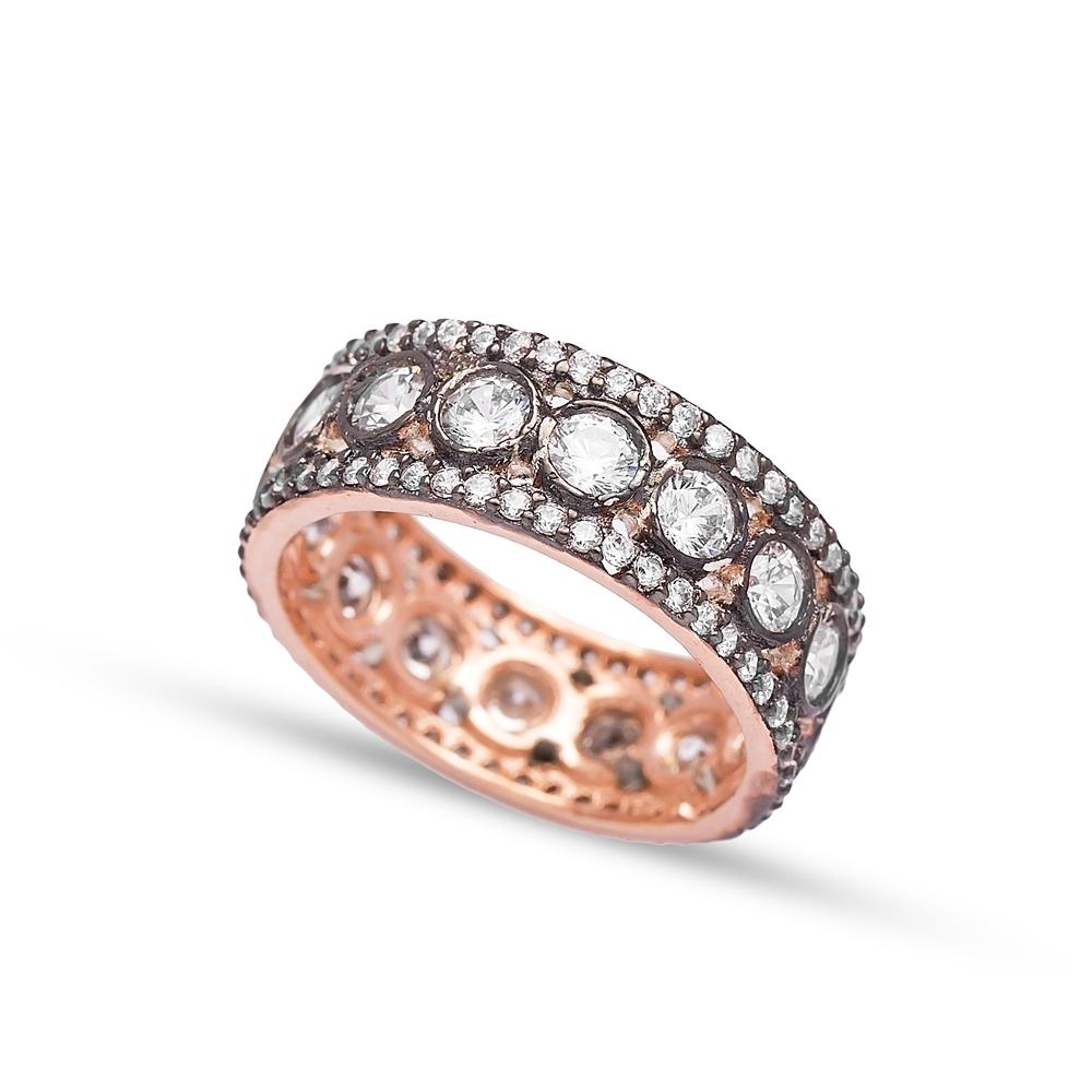 Elegant Design Zircon Band Ring Wholesale Handmade 925 Sterling Silver Jewelry