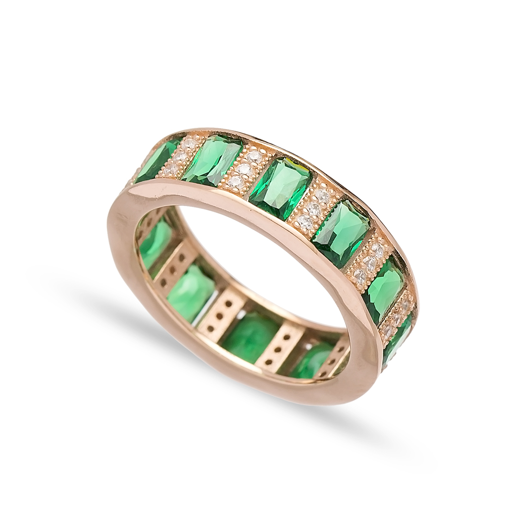Baguette Emerald Stone Band Ring Turkish Wholesale 925 Sterling Silver Jewelry