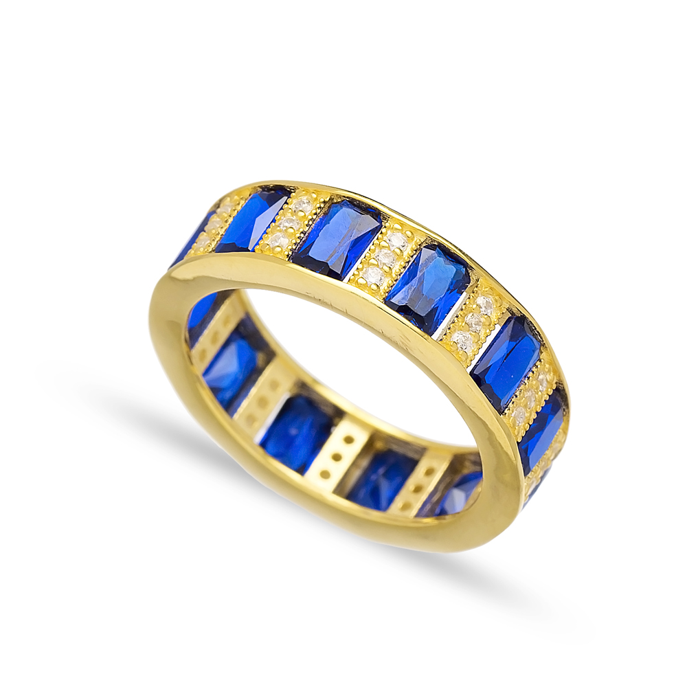 Baguette Sapphire Stone Band Ring Turkish Wholesale 925 Sterling Silver Jewelry