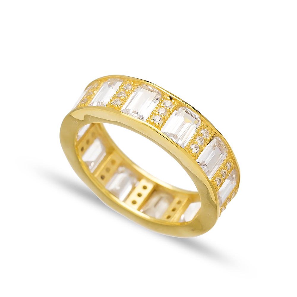 Zircon Stone Baguette Band Rings Turkish Wholesale 925 Sterling Silver Jewelry