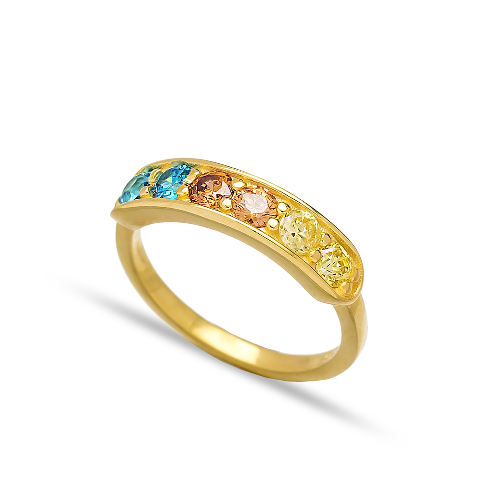 Mix Stone Rainbow Band Rings Turkish Wholesale 925 Sterling Silver Jewelry