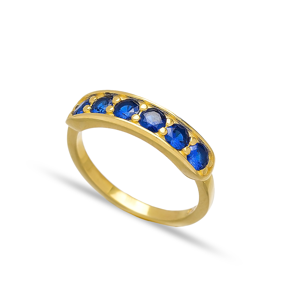 Sapphire Stone Band Rings Turkish Wholesale 925 Sterling Silver Jewelry