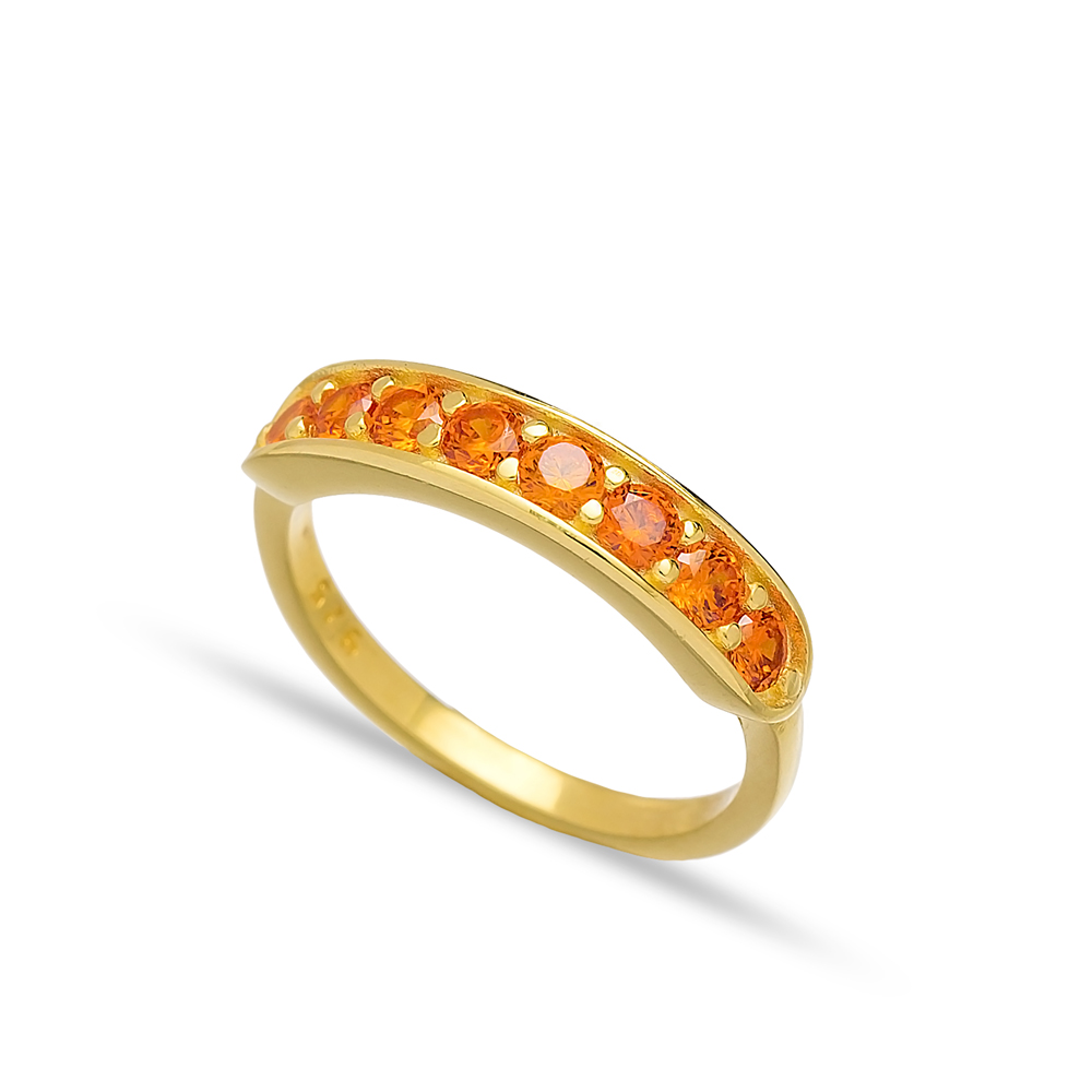 Orange Quartz Zircon Band Rings Turkish Wholesale 925 Sterling Silver Jewelry