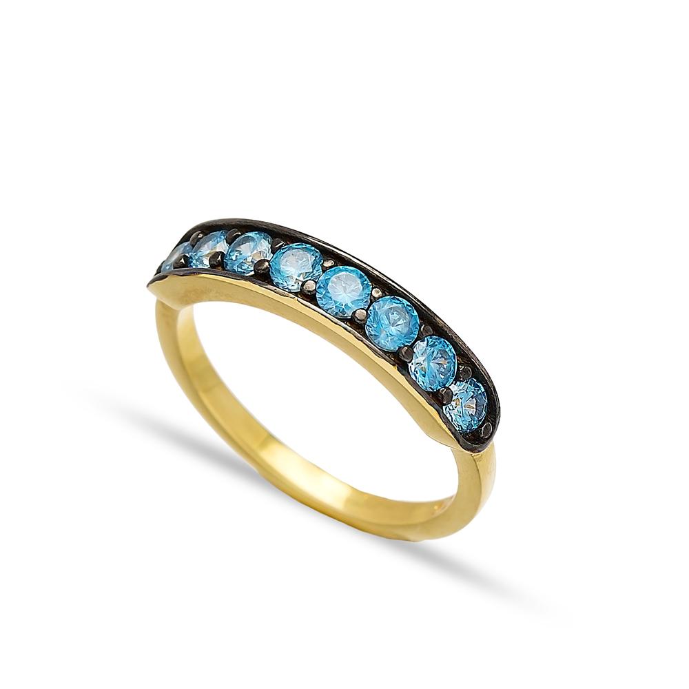 Blue Quartz Zircon Band Rings Turkish Wholesale 925 Sterling Silver Jewelry