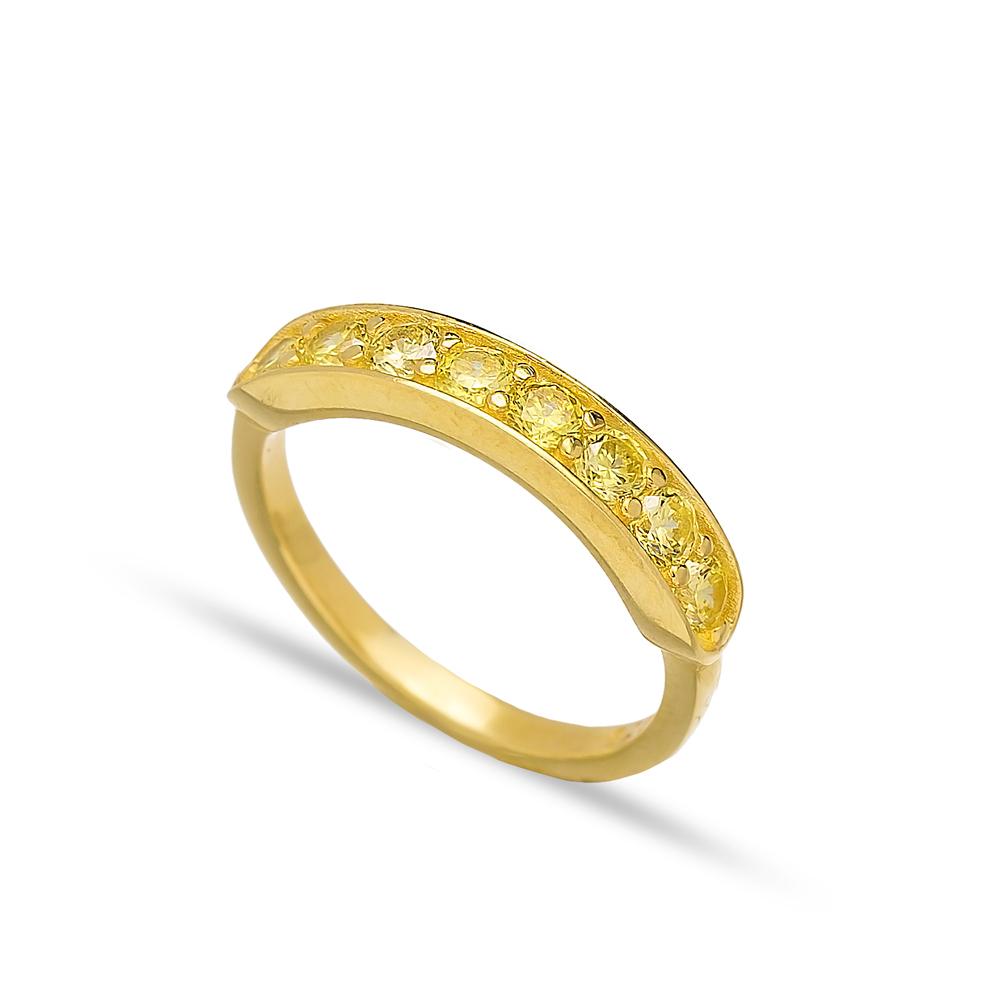 Yellow Zircon Band Rings Handmade Turkish Wholesale 925 Sterling Silver Jewelry