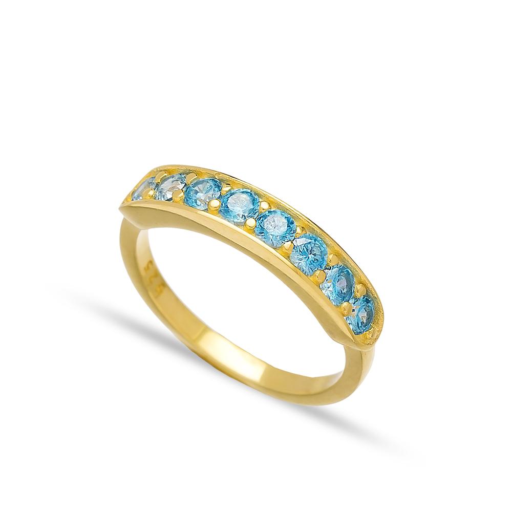 Blue Zircon Stone Band Ring Handmade Turkish Wholesale 925 Sterling Silver Jewelry