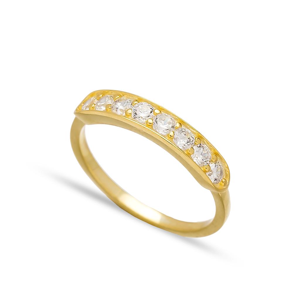 Band Ring Zircon Stone Handmade Turkish Wholesale 925 Sterling Silver Jewelry