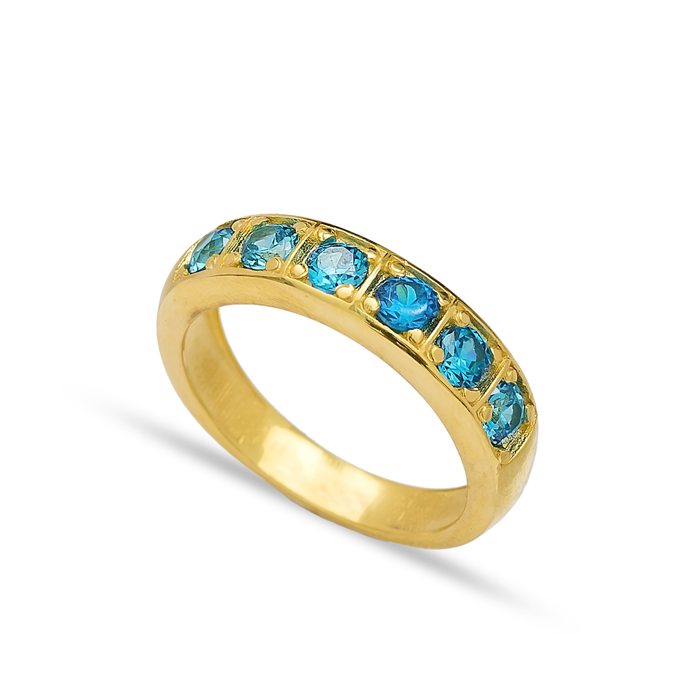 Band Ring Blue Zircon Stone Handcrafted Turkish Wholesale 925 Sterling Silver Jewelry