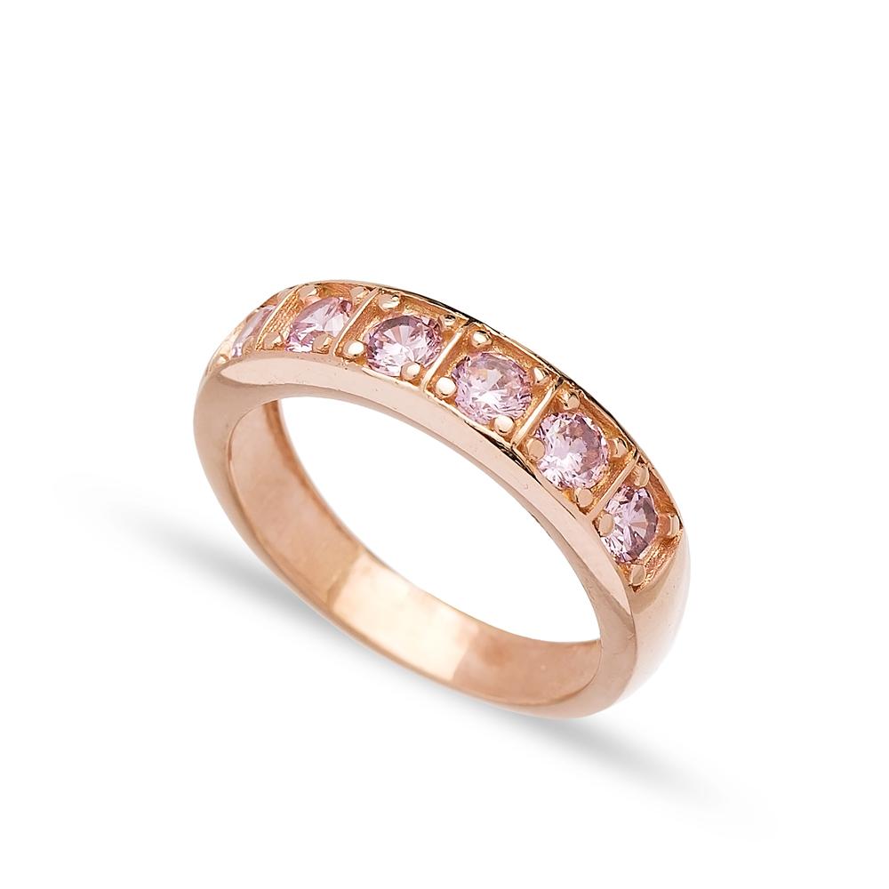 Pink Quartz Zircon Stone Band Ring Turkish Wholesale 925 Sterling Silver Jewelry