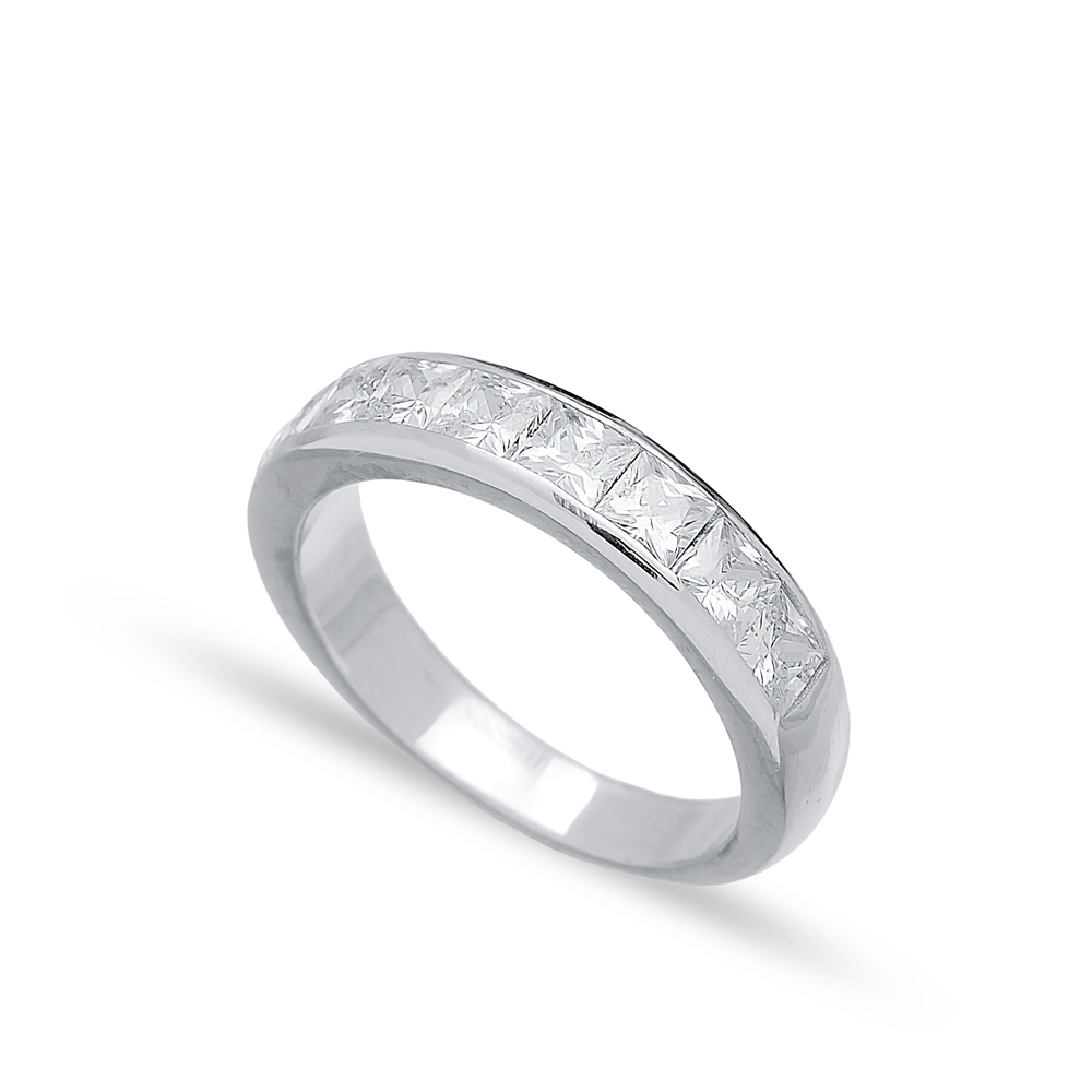 Silver Band Rings Zircon Handmade Wholesale Turkish 925 Sterling Silver Jewelry