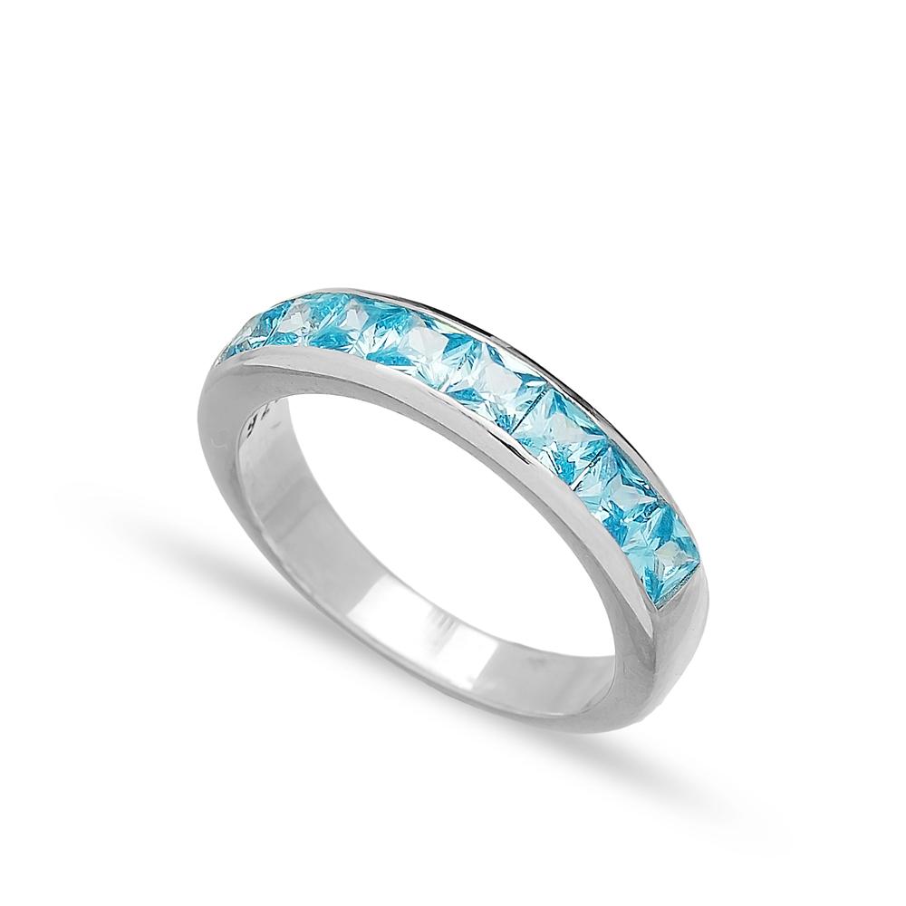 Silver Band Rings Blue Quartz Zircon Handmade Wholesale Turkish 925 Sterling Silver Jewelry
