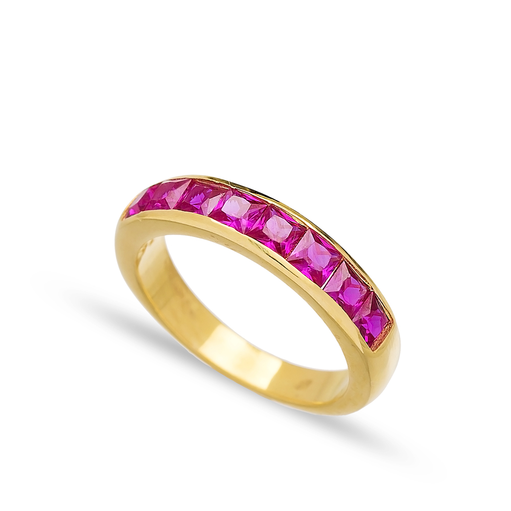 Silver Band Rings Ruby Handmade Wholesale Turkish 925 Sterling Silver Jewelry