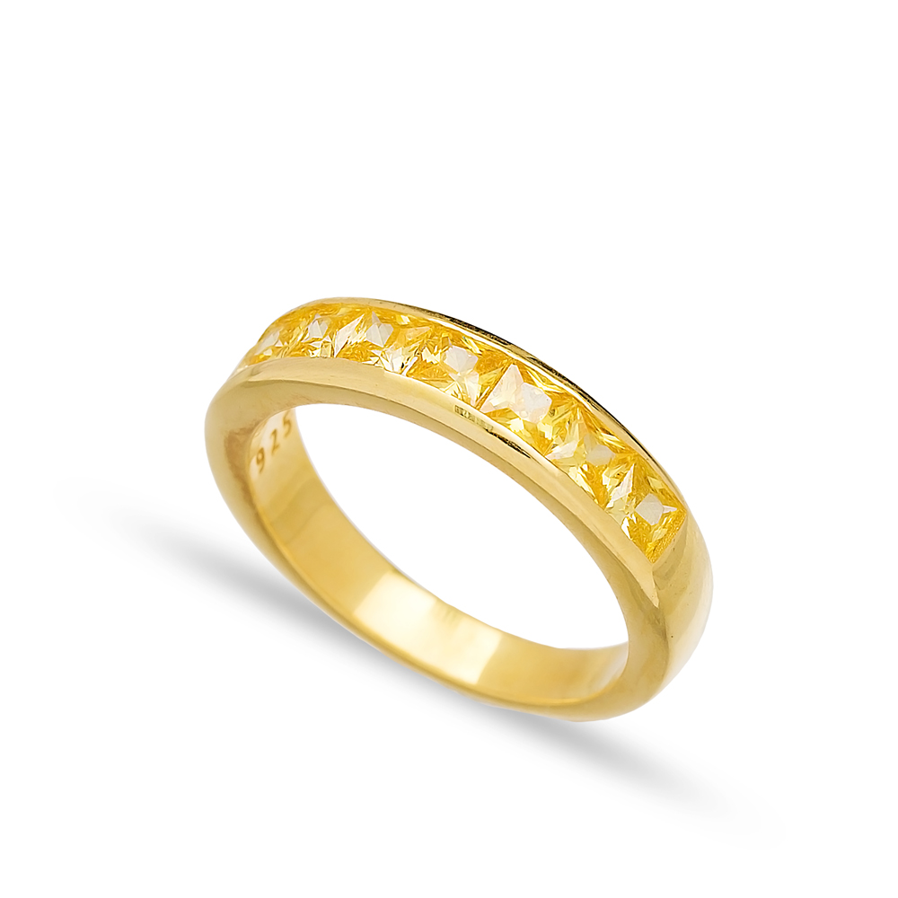Yellow Zircon Silver Baguette Band Rings Handmade Wholesale Turkish 925 Sterling Silver Jewelry
