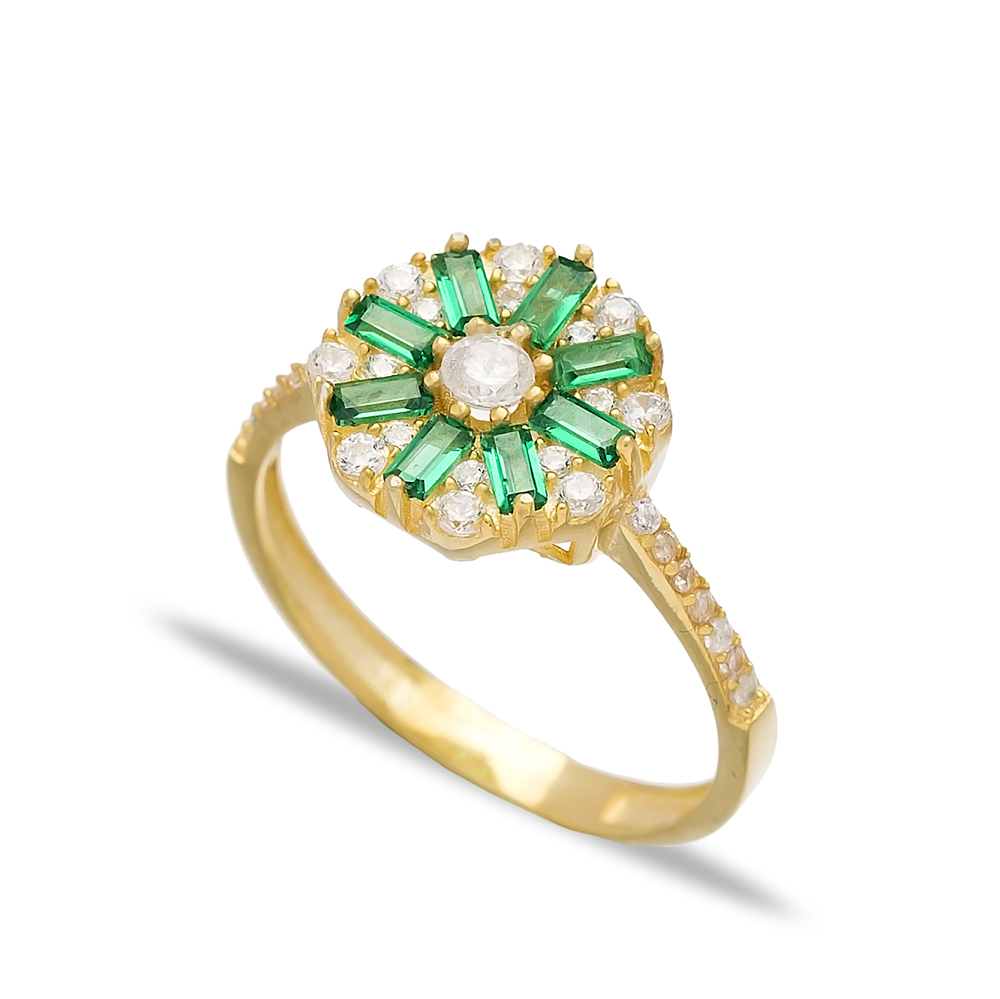 Emerald Baguette Engagement Rings Handmade Wholesale Turkish 925 Sterling Silver Jewelry